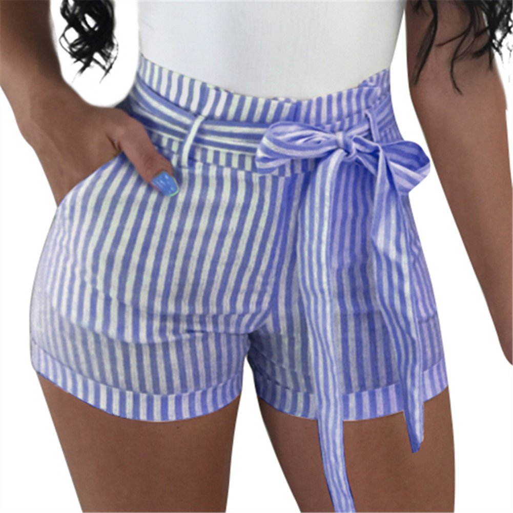 GOBLES Women's Sexy Hot Pants High Waisted Striped Casual Summer Bow Shorts Dark Blue