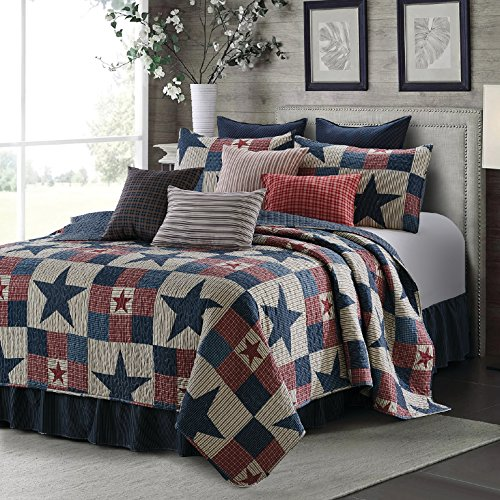 Bedspread Ranch Style (Virah Bella 3 Piece Mountain Cabin Stars Rustic 3 Piece Quilt and Sham Set (Gray, King))