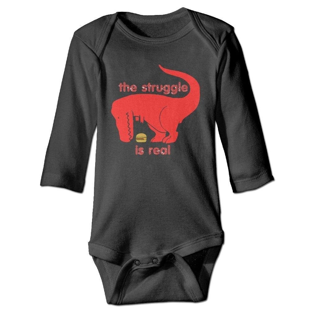 Infant Dinosaur The Struggle is Real Hamburger Long Sleeve Romper Onesie Bodysuit Jumpsuit