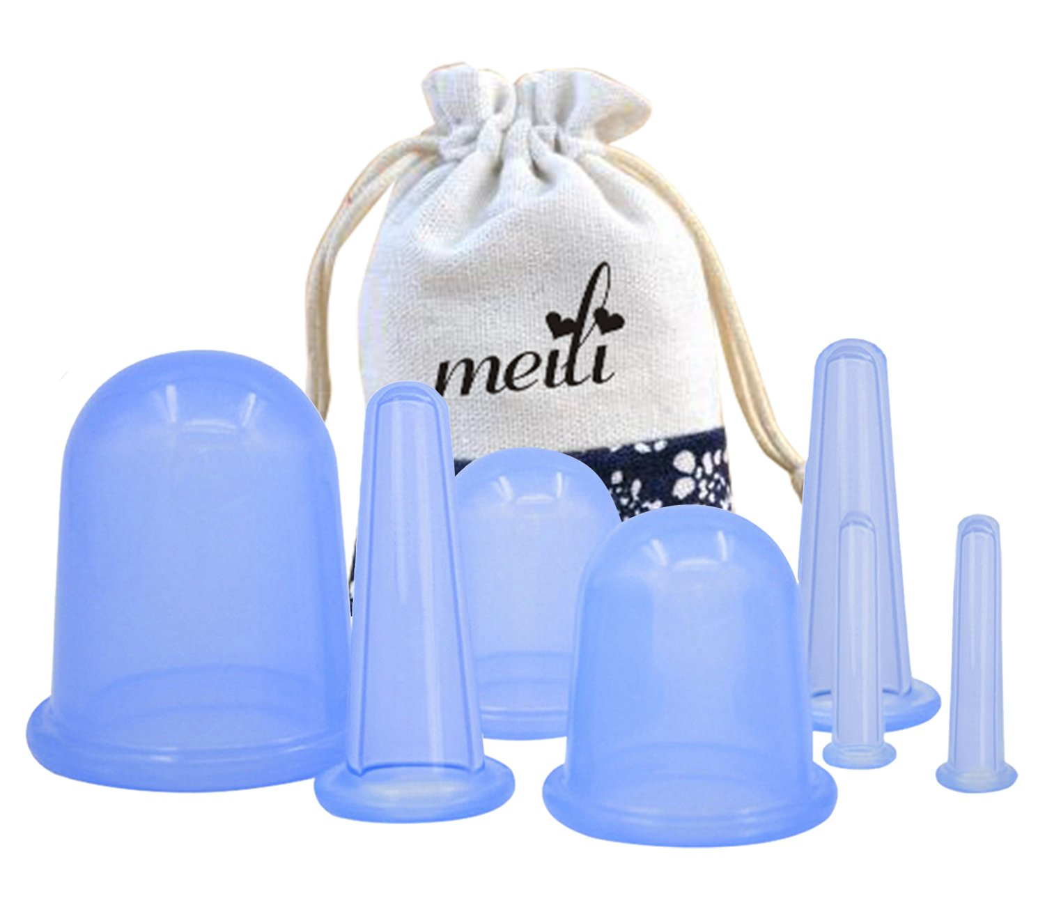 MEILI Silicone Facial & Body Cupping Therapy Suction Cup Set Of 7pcs Kit, Medical Silicone Massage Cellulite Cups For Pain Relief Relaxation and Cellulite removal?-