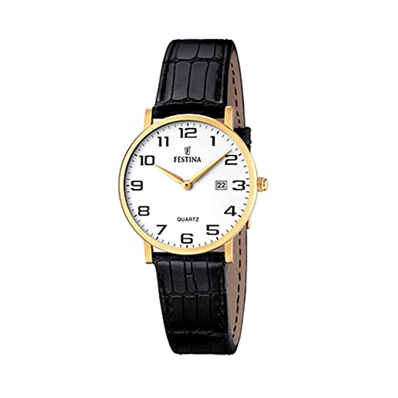 FESTINA F16479/1 - Reloj de Mujer de Cuarzo, Correa de Piel Color Negro: Amazon.es: Relojes