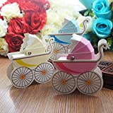 50 Pcs Baby Carriage Stroller Favor Gift Boxes Candy Holders for Christening Baby Shower Birthday Party Favor