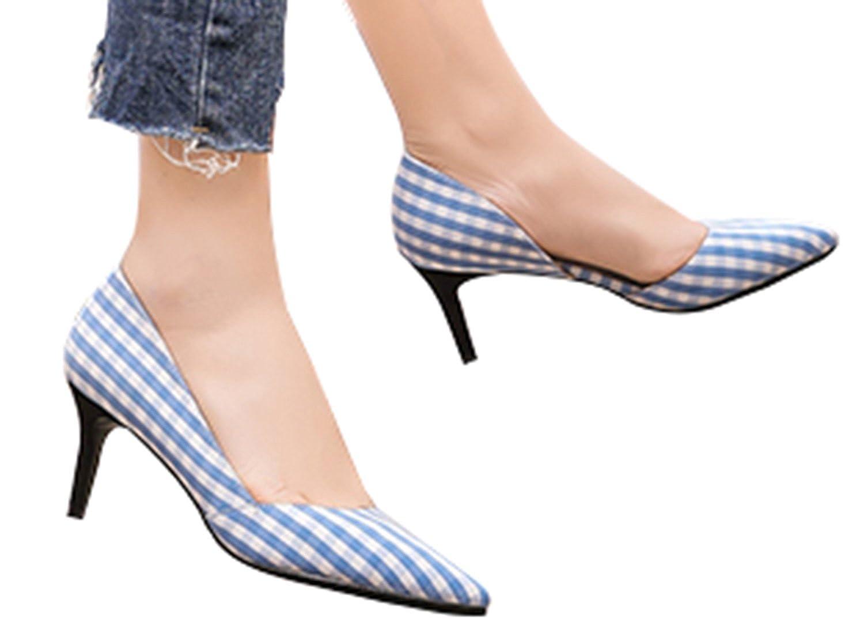 WSKEISP Womens Shallow Grid Pointed Toe Slip On Waterproof High Heels Pumps