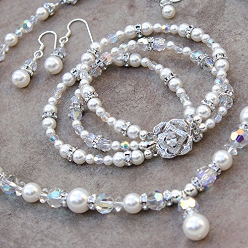 3 Piece Bridal Jewelry Set with Custom Color Swarovski Crystal Pearls (Swarovski Crystal Custom Bridal Earrings)