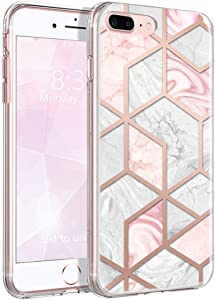 iPhone 8 Plus Case Pink Marble, iPhone 7 Plus Case for Women Girls, AIKIN IMD Technology Never Fade Slim Fit Clear Bumper Premium TPU Anti-Scratch Full-Body Protective Cover Case for iPhone 7/8 Plus