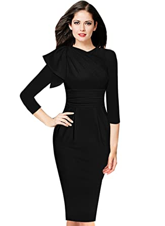 VfEmage Womens Celebrity Elegant Ruched Wear To Work Party Prom Bodycon Dress 8829 Blk S