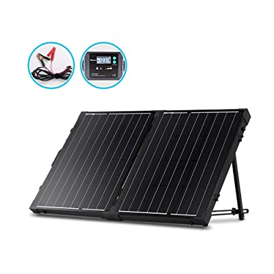 Renogy 100 Watt 12 Volt Monocrystalline Off Grid Portable Foldable 2Pcs 50W Solar Panel Suitcase Built-in Kickstand with Waterproof 20A Charger Controller : Garden & Outdoor