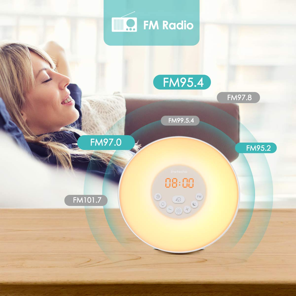 instecho Sunrise Alarm Clock, Digital Clock, Wake Up Light with 6 Nature Sounds, FM Radio and Touch Control (White) ... by instecho (Image #4)
