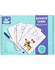 Elloapic Write & Wipe Practice Cards, Exercise book,Pencil, eraser, can repeate writing (Alphabet ABC Letter)
