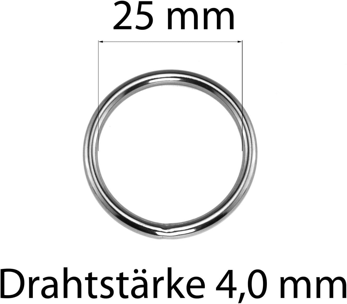 O-Ring aus Edelstahl Silber geschwei/ßt Verschiedene Gr/ö/ßen LENNIE Rundring