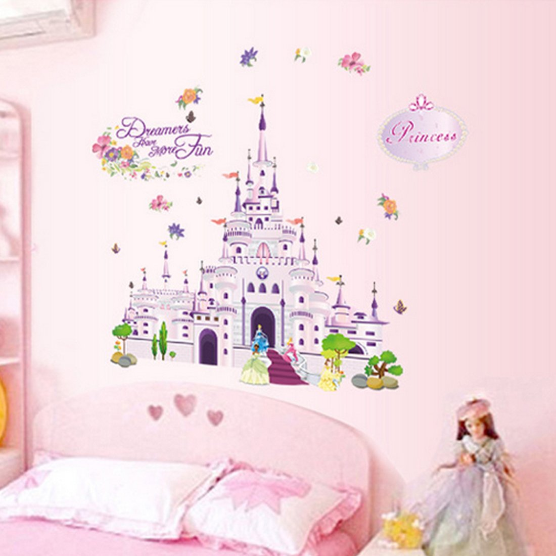 Cartoon Castle Wall Decal Home Sticker Paper Removable Living Room Bedroom Art Picture DIY Mural Girls Boys kids Nursery Baby Playroom Decoration + Gift Colorful Butterflies fashionbeautybuy