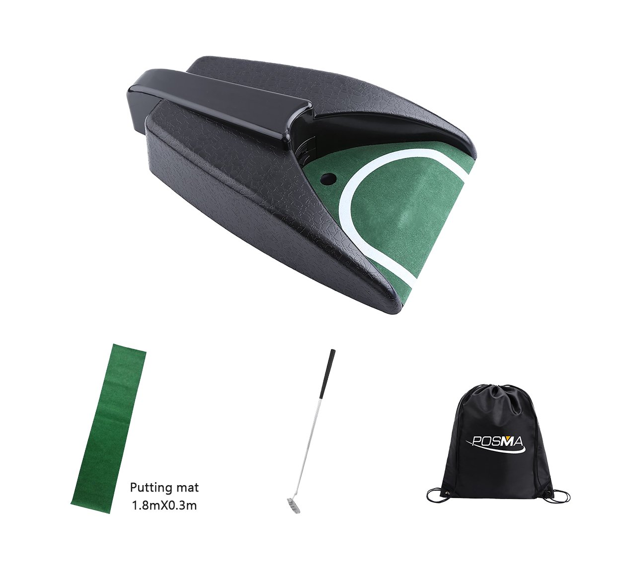 POSMA PG010F Practice Training Cup Golf Automatic Putting Cup Bundle Set with 1pc Putting Cup + 1.8m x 0.3m Putting Mat + 1 set of Detachable putter + Cinch Sack Bag