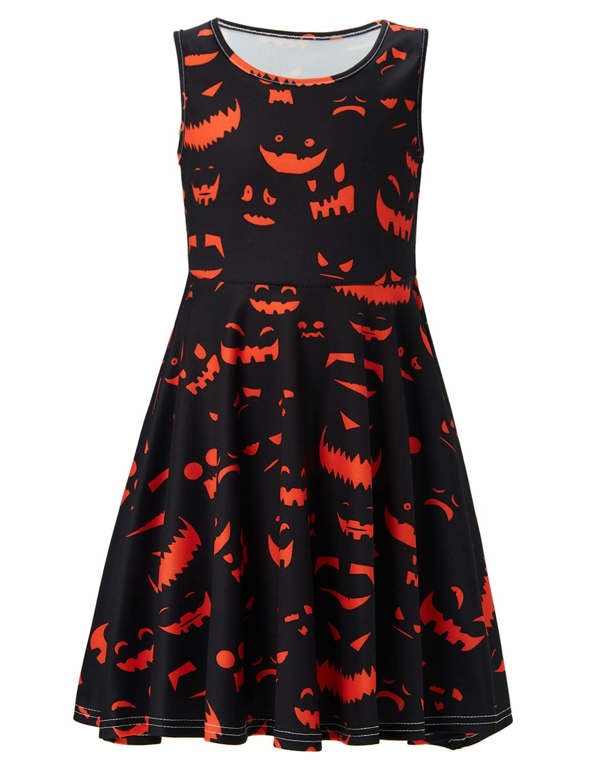 Idgreatim Girls Summer Printed Pumpkin Ghost Candy Sleeveless Round Neck Dress 4-5T