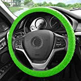 FH Group FH3002 Silicone Steering Wheel Cover w. Nibs & Pattern (Massaging grip) w. Free Airfreshener, Green Color-Fit Most Car, Truck, Suv, or Van