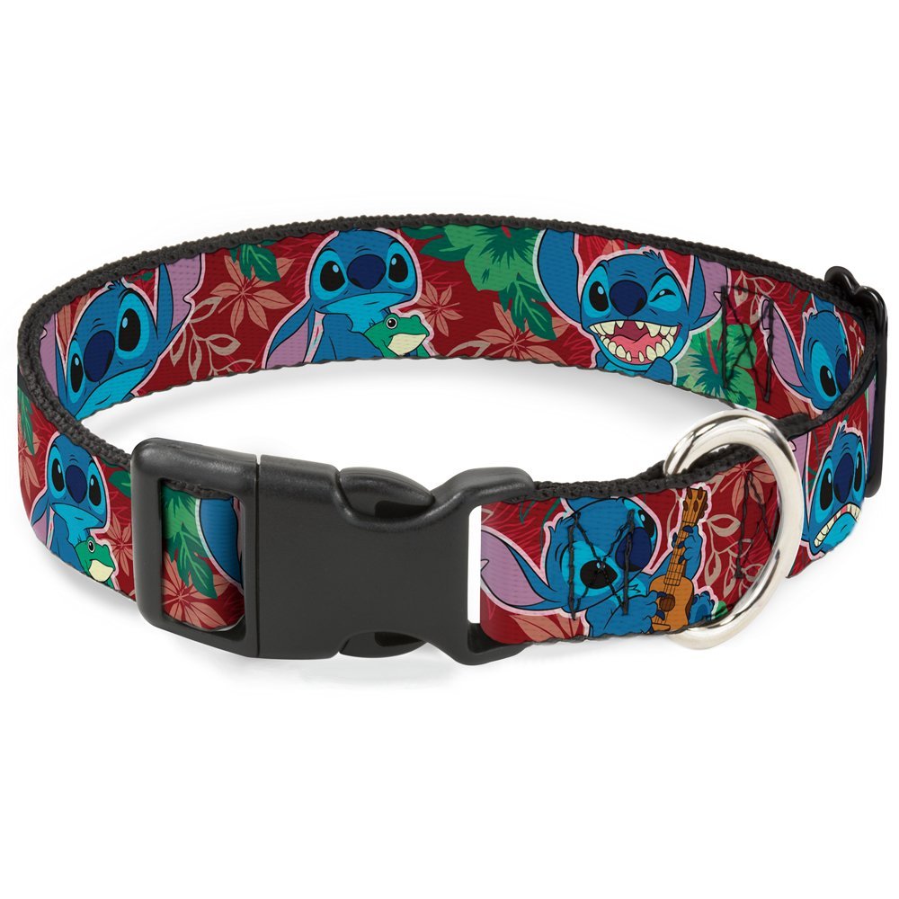 Buckle Down Cat Collar Breakaway Stitch 6 Expressions Tropical Flora Burgundy Reds Greens 8 to 12 Inches 0.5 Inch Wide