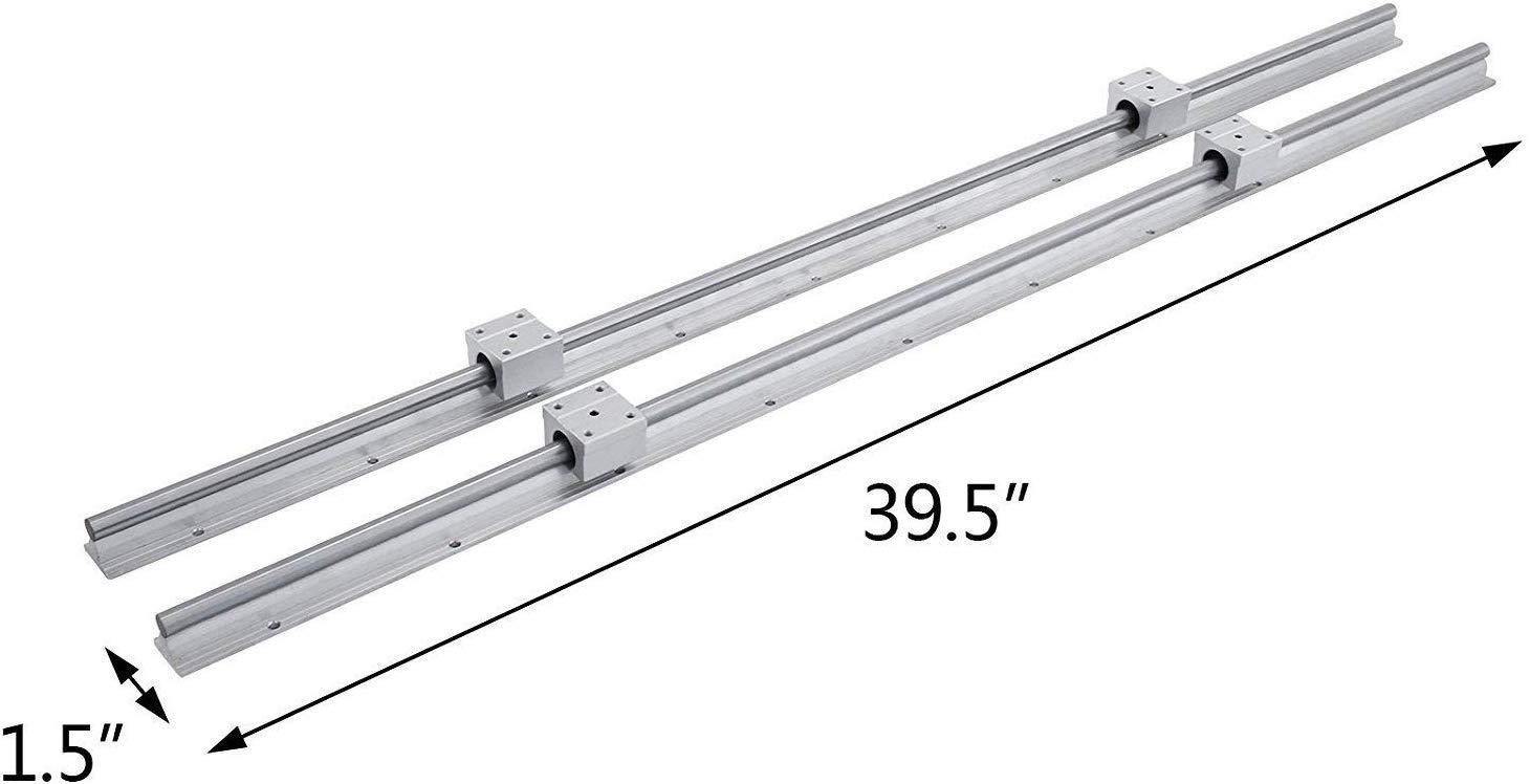 FlowerW 2X SBR12-1000mm Rails Linear Rail Guide Shaft Rod 4X SBR12UU Bearing Slider Blocks Slide Guide CNC Set