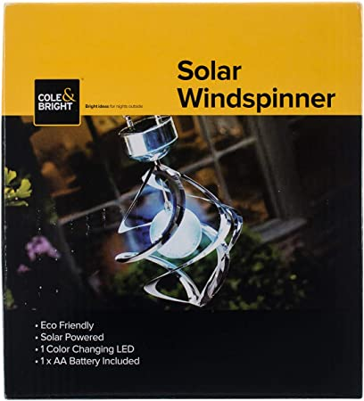 Solar LED Colour Changing Galaxy Wind Spinner Light Outdoor Garden Chime Mobile