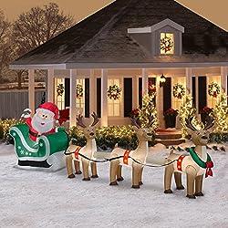 Airblown Inflatable Santa Sleigh and Reindeer Scene 12.5ft...