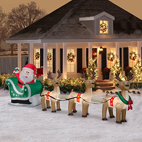 Airblown Inflatable Santa Sleigh and Reindeer Scene 12.5ft wide by Gemmy Industries by Airblown Inflatable