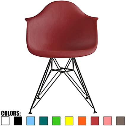 Amazon Com 2xhome Red Modern Plastic Armchair With Black
