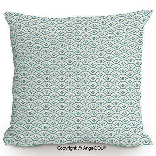 (AngelDOU Throw Pillow Cotton Linen Pillow Cover and Inserts,Asian Ethnic Ocean Illustration Curvy Rippled Aqua Bubbly Sun Symbols and Rays,Modern Home Office Sofa Bed Nice Decor.19.6x19.6 inches)