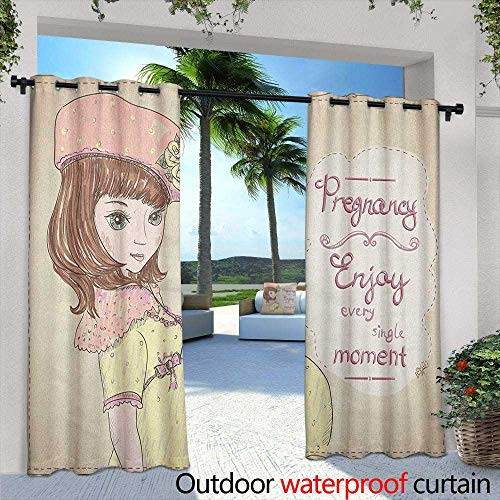 LOVEEO Quotes Grommet Outdoor Curtains Pregnancy Enjoy Every Single Moment Clipart Pregnant Woman Dress Hat Simple Stylish 108