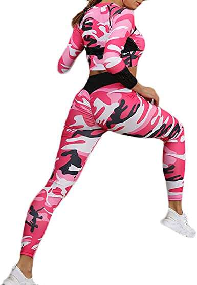 TUONFC Two Pieces Long Sleeve Yoga Set Gym Fitness Tight Women Tracksuit Running Sport Suit