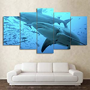 LXDWLH Hd Printed Canvas Poster Frame 5 Panel Deep Blue Ocean Big Shark Home Decor Living Room Wall Art Painting Modular Pictures