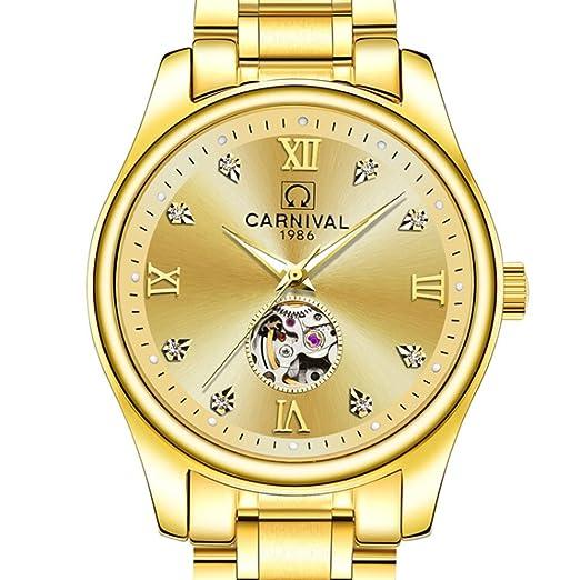 Suiza Carnaval famosa marca reloj de lujo mecánico automático reloj de pulsera de oro de los hombres reloj: Amazon.es: Relojes