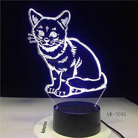 Bádminton estilo 3D luz de noche 7 cambio de color lámpara ...