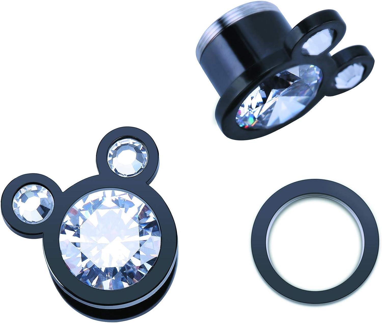 WBRWP 2pcs Stainless Steel Ear Plugs Tunnels - Ear Expander - Ear Gauges Stretcher Body Piercing Jewelry 2g-5/8