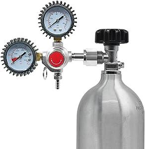 Mein LAY Dual Gauge CO2 Regulator for Draft Beer Kegerators, CO2 Keg Pressure Regulator,CGA-320, 0-60 PSI Working Pressure, 0-3000 PSI Tank Pressure with Safety Pressure Relief Valve