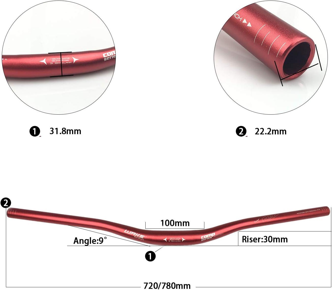 aleaci/ón de aluminio, 720//780 mm Manillar elevador para bicicleta de monta/ña Wake MTB