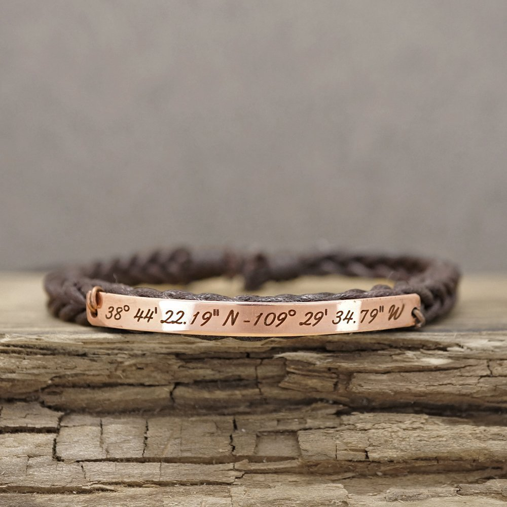 Custom Coordinate Bracelet Stainless Steel, Latitude Longitude Location Engraved, Thin Dark Brown Braided Thread Cuff Adjustable