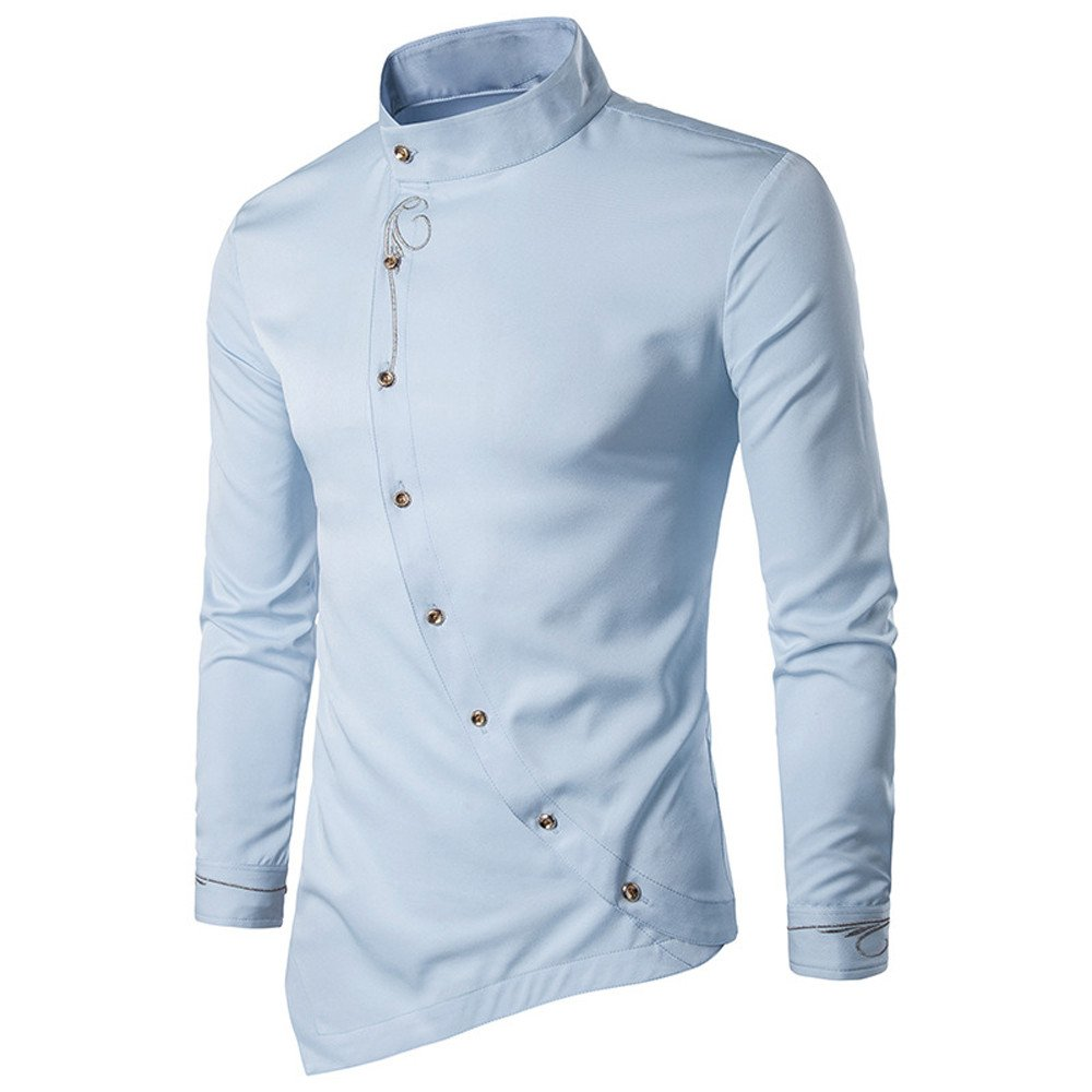 Clearance Sale ! Charberry Mens Long Sleeve Shirt Casual Irregular Silm Fit Blouse Embroidery T-Shirt