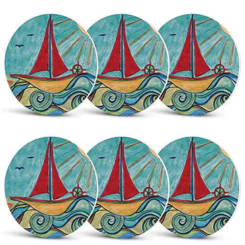 Art Heat Resistant Coasters,Baby Boy Paintings Ship in the Waves of Ocean Sun Kids Girls Nursery Picture Decorative for Kinds of Mugs and CupsSet of 6