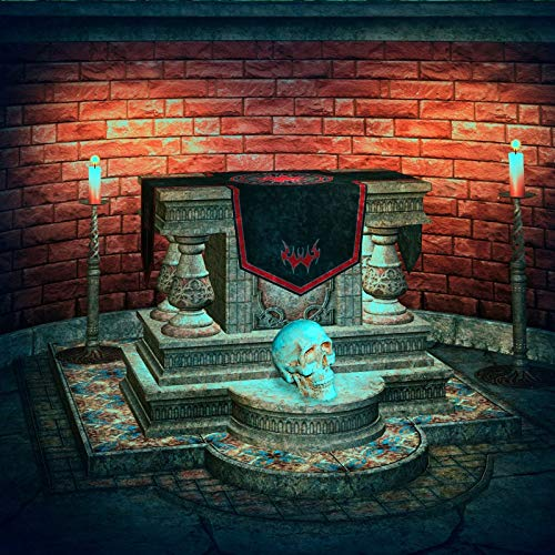 Baocicco Sacrificial Altar Backdrop 5x5ft Cotton Polyester Photography Backgroud Halloween Backgroud Spooky Party Wizard Room Decorations Terror Skull Candle Light Brick Wall Gloomy Night
