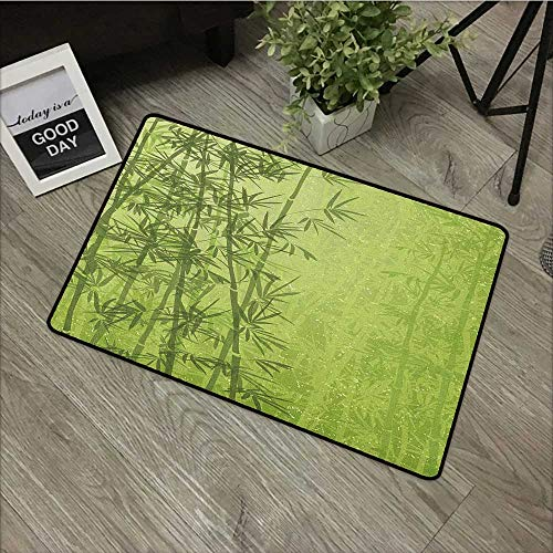 (Pool anti-slip door mat W35 x L59 INCH Exotic,Tropical Forest Rainforest Jungle Paradise Ecology Feng Shui Spa, Pistachio Green Fern Green Natural dye printing to protect your baby's skin Non-slip Doo)