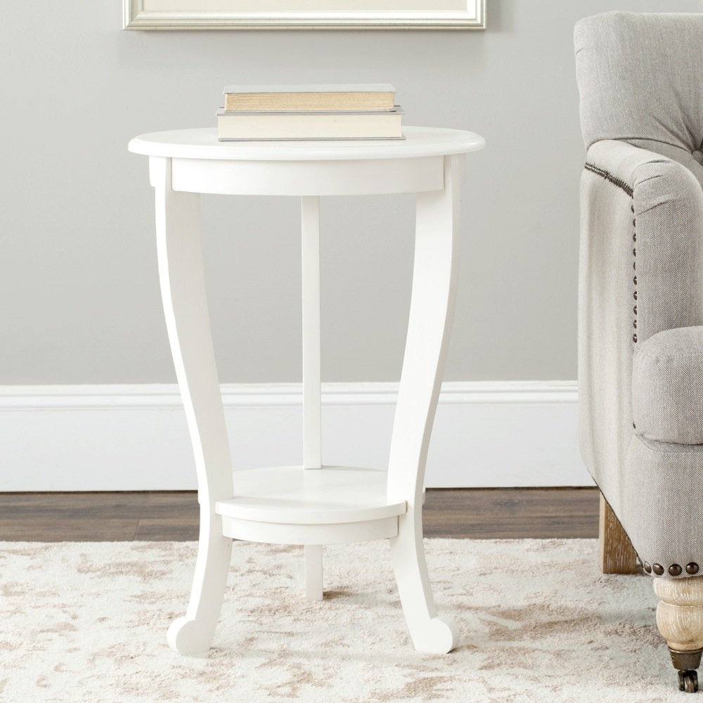 Amazon.com: Safavieh American Homes Collection Mary Distressed Cream  Pedestal End Table: Kitchen U0026 Dining