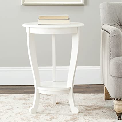 Safavieh American Homes Collection Mary Distressed Cream Pedestal End Table