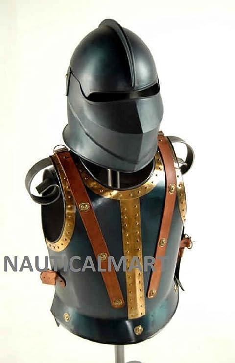 Medieval Armor pectoral Arnés/casco Combo por Nauticalmart: Amazon ...
