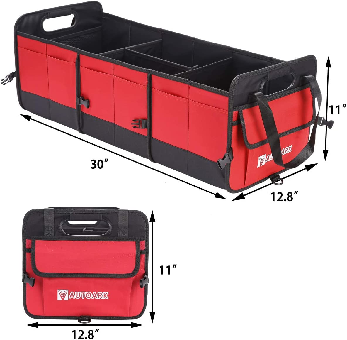 Autoark Multipurpose Car SUV Trunk Organizer with Removable Insulation Leakproof Cooler Bag,Durable Collapsible Adjustable Compartments Cargo Storage,AK-135