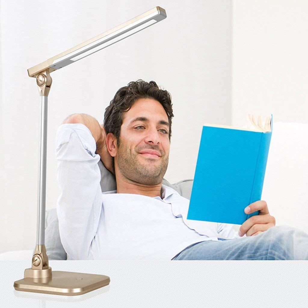 Eeayyygch Schreibtisch Kinderschlafzimmer Bett Studie lösen Klapp Touch Switch Tischlampen Tischlampe (Farbe  Blau) (Farbe   Beige, Größe   -)
