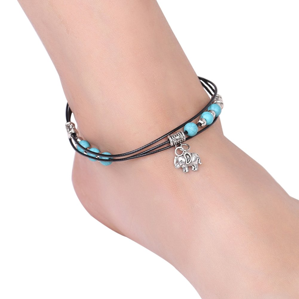 puran Women Multi Layered Boho Elephant Pendant Charm Bead Ankle Bracelet Beach Foot Chain