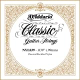 D\'Addario NYL039 Rectified Nylon Classical Guitar Single String ,.039