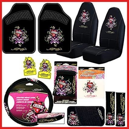 b89128e8be55 Amazon.com   Ed Hardy Love Kills Complete Car Seat Covers ...