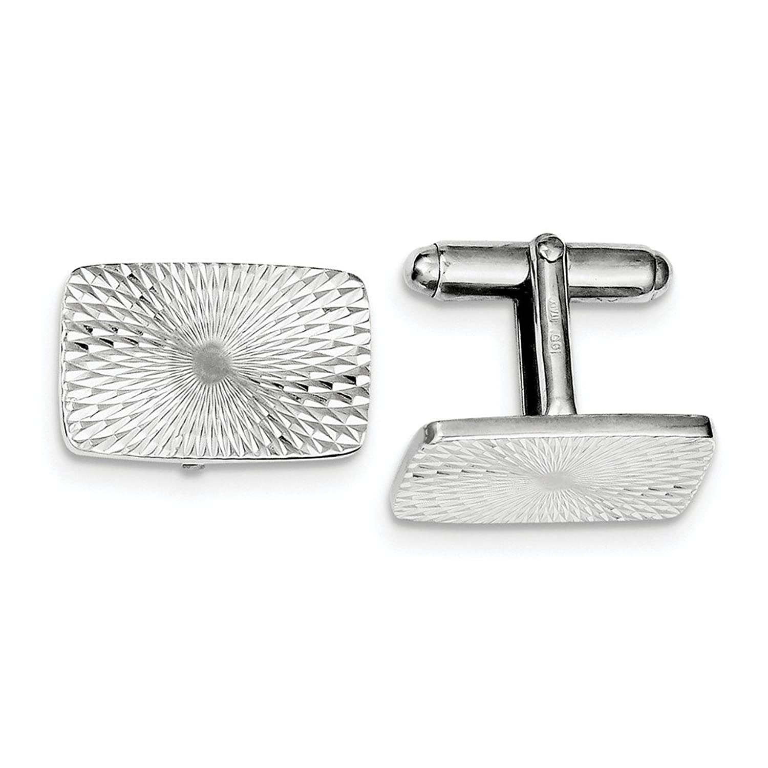 Best Birthday Gift Sterling Silver Rhodium Plated Textured Swirl Cuff Links