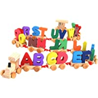 Trinkets & More® - Alphabet ABC Letters Train (A-Z) English Vocabulary Building Blocks Early Educational Toys Kids 3+ Years
