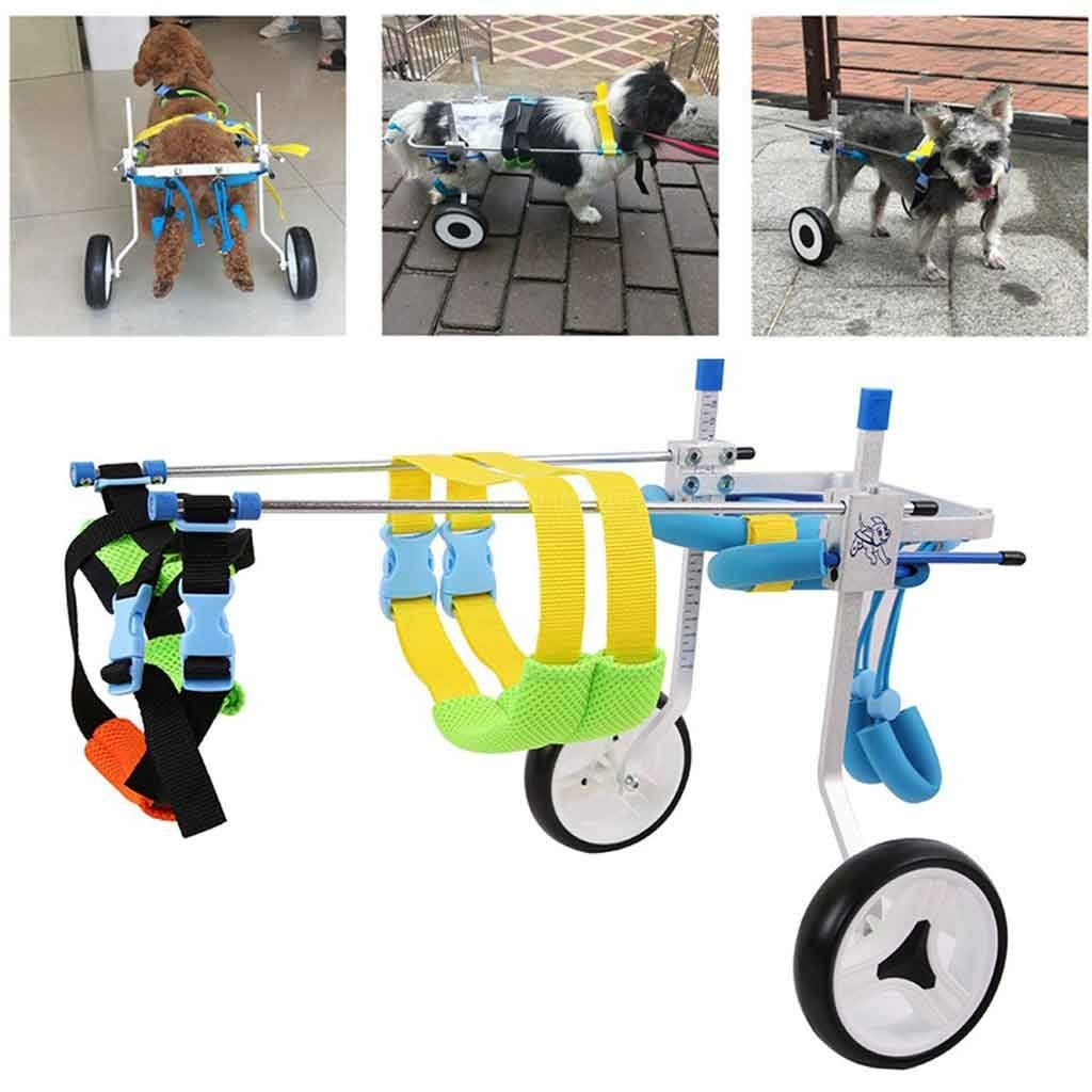 XXS AnnCWLY Adjustable Dog Wheelchair 2 wheel Rounds Small and Medium Cat and Dog Pet Hind Legs Repair Disabled Assisted Rehabilitation Walking Cart (Size   XXS)