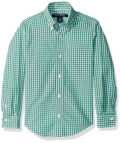 Brooks Brothers Big Boys' Non Iron Gingham Sportshirt, Green, Medium